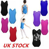 UK Girls Kids Dance Tank Leotard Gymnastics Ballet Sleeveless Jumpsuit Dancewear