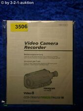 Sony Manuel d'utilisation CCD tr501e/tr502e/tr620e Video Camera (#3506)