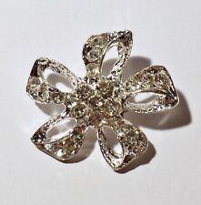 2 Silver Metal Grade A Clear Rhinestone Crystal Buttons 26mm Flower Craft M0362
