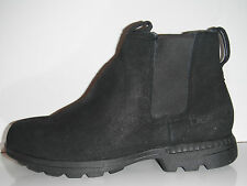 New Bearpaw Larkin II Black Pressed Suede Sheepskin Winter Footbed Boot sz 8M