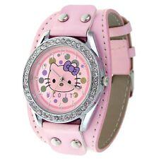 Reloj HELLO KITTY rosa, brillantes y remaches Precioso. A1137