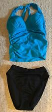 Woman LA BLANCA Turquoise Black 2 Piece Halter Tankini Bathing Suit Sz 8/10 EUC