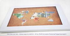 Weltkarte Geldgeschenk zur Hochzeit Weihnachten Geburtstag A4 für Rahmen GROSS!