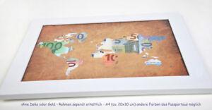 Weltkarte als Geldgeschenk Hochzeit Geburtstag etc. - A4 für Rahmen GROSS! kmpl!