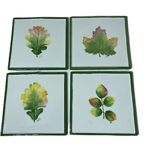 """4 Pier 1 Imports 7.5"""" Ceramic Tile Trivet Italy Autumn Leaf Hand Painted Signed"""