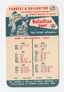 1960 NY Yankees and Ballantine Beer Pocket Schedule