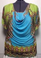 One World Knit Tunic top 3X Drape Front Flutter Sleeve Poly Spandex Blend