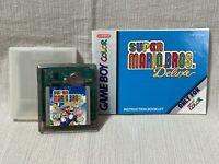 Super Mario Bros Deluxe Nintendo Gameboy Cartridge Manual Authentic & Working