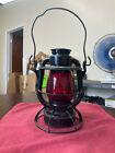 VINTAGE DIETZ VESTA NEW YORK USA RAILROAD OIL LAMP w/ ORIGINAL RED GLOBE (RR)