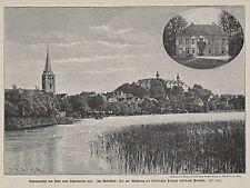Plön - 2 Ansichten - Gesamtansicht und Pavillon  Holzstich um 1895