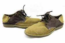 SPERRY Top Sider Olive Khaki Brown Wool & Leather Oxfords Shoes 9 Rare Sample