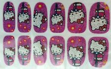 Nail Art 3D Glitter Decal Stickers Hello Kitty on Pogo Stick Flowers MZFS372