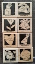 Stampin' Up OCCASIONALLY Set 8 Wood Mounted Rubber Stamps Lot Heart Flower Baby