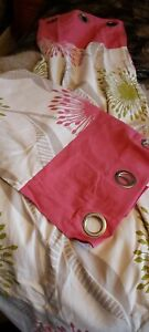 Dunhelm Curtains Eyelets Pink Green Neutral  168cm Wide 182cm Drop Lined