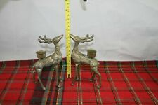 "Brass Reindeer Candle Holders Vintage Christmas Holiday Decoration 6"" Deer"