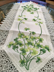 "St Patrick's Day Decor Shamrock Table Runner Centerpiece 36"" x 14"" Crochet Lace"