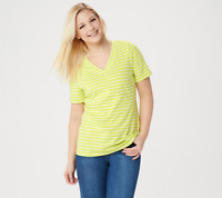 Denim & Co. Striped Perfect Jersey Short- Sleeve Top Hot Lime Color Size L