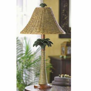 Tropical Rattan Palm Tree Table Lamp Beach Style Ocean Decor End Table Light