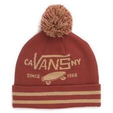 Vans Off The Wall Full Patch Pom Cuff Wicking Beanie Rust Red Mens Hat New NWT