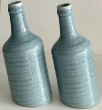Pair Blue Vases Sloping Shaped Pot Urn Pitcher Ceramic Pottery Grasses Flowers