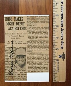 """Seattle Indians Baseball Player George """"Tioga"""" Burns Autographed News Article"""