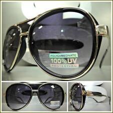 CLASSIC VINTAGE RETRO Style Party Rave Club SUN GLASSES Gold Black Fashion Frame