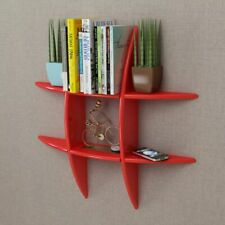 MDF Floating Cubes Wall Storage Book CD Display Shelf Red