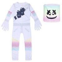 Kid Teen DJ Marshmello +Mask Jumpsuit Full Costume Set for Halloween Music Party