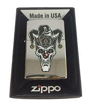Zippo Custom Lighter Skull Jester Scary Clown Joker Ace of Spades Polish Chrome
