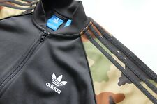 Adidas Originals camouflage sleeves tracksuit Jacket Black Green S bomber Camo
