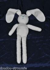 Peluche Doudou Lapin Blanc PETIT BATEAU Nez Yeux Bleu 30/48 Cm Hase Rabbit TTBE