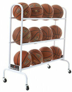 NEW Soccer Volleyball Basketball Storage Rack Rolling Cart Holds 12 Balls