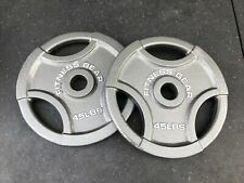 45lb Olympic Weight Plates- Pair - FITNESS GEAR- OLYMPIC GRIP PLATES- 90LB TOTAL