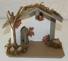 Krippe Minikrippe Holz mit Beleuchtung  Batteriebetrieben 16,5 cm x 10 cm x13 cm