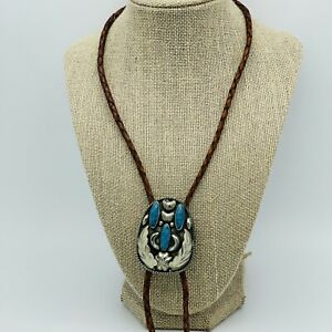 Vintage Alpaca Mexico Silver Turquoise Bolo Tie E-0005