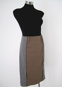 NEW WITH TAGS! Country Road Grey Brown Spliced Wool Skirt Size Small 10 RRP $149