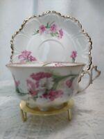 Vintage M Z AUSTRIA  Tea Cup & Saucer pink flowers,  Heart Handle & golden edges