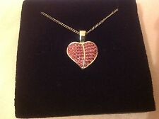 925 Sterling Silver pink sparkling bling heart charm pendant necklace BN