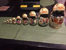 "HAND PAINTED 10 PCE RUSSIAN MATRYOSHKA NESTING DOLLS 9.25"" MADE IN RUSSIA SIGNED"