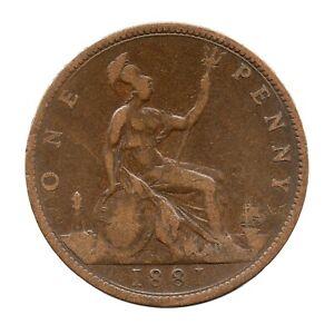 KM# 755 - One Penny - Freeman 105 (10+J) - Victoria - Great Britain 1881 (F)