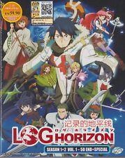 English Dub Anime DVD Log Horizon Season 1+2 Episode 1-50 End + SP Free Ship