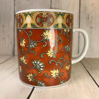 Kanesho  FLORAL Coffee Tea Cup Mugs Ornate Orange Yellow Made In Japan