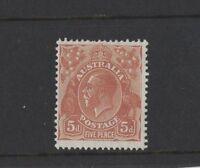1930 Australia KGV 5d orange brown SG 103a sm. multi wmk Perf. 13 mint