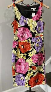 NWT Banana Republic Sheath Dress Womens Size 4 Floral Sleeveless Pink Yellow