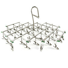 Laundry Clothesline Hanging Rack for Drying Clothing Set of 35 Stainless+6 clips