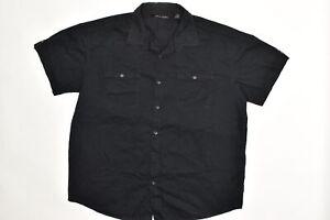 Sean John Men's Adult Sz 3XB Button Shirt Short Sleeve Solid Black  Solid Cotton