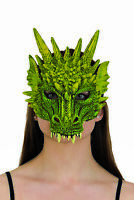 Adult Size Green Rubber Dragon Half Mask Halloween Costume Accessory