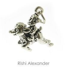 925 Sterling Silver Elf Riding a Reindeer Charm Made in USA
