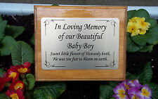 Solid Wooden Memorial Stake Grave/Tree Marker Cremation Personalised Baby Boy