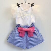 2PCS Toddler Kids Baby Girls Summer Outfits Lace T-shirt Tops+Shorts Clothes Set
